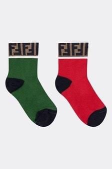 Kids Green/Red Socks Two Pack
