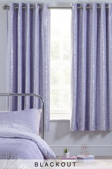 Velvet Animal Pattern Eyelet Blackout Curtains
