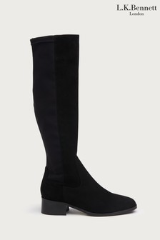 L.K.Bennett Black Bella Stretch Suede Knee Boots