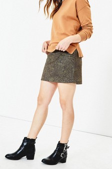 Oasis Green Faux Suede Animal Skirt