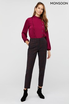 Monsoon Red Harriet Houndstooth Jacquard Trousers