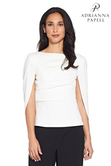 Adrianna Papell White Cowl Crepe Cape Top