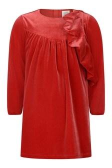 Girls Red Velvet Ruffle Dress