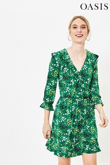 Oasis Green Ditsy Ruffle Wrap Dress