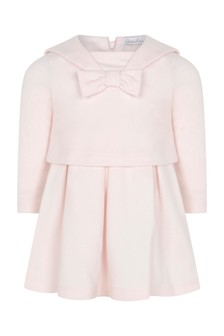 Baby Girls Pink Cotton Long Sleeve Dress