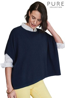 Pure Collection Blue Cashmere Poncho Sweater
