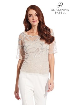Adrianna Papell Cream Beaded Illusion Top