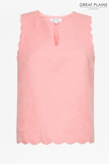 Great Plains Pink Linen Blend Scallop Blouse