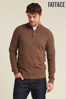 FatFace Brown Cotton Cashmere Stitch Half Jumper