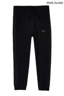 River Island Black Older Boys Pique Tapered Joggers