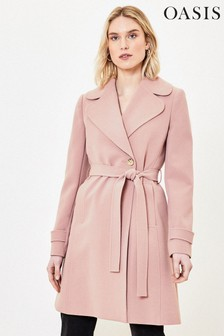 Oasis Pink Scallop Trim Wrap Coat