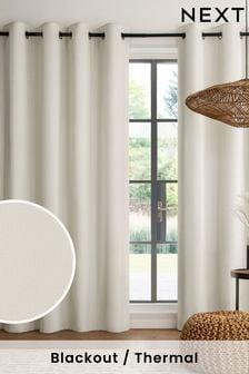 Light Natural Cotton Eyelet Blackout/Thermal Curtains