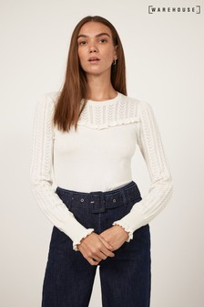 Warehouse Cream Pointelle Ruffle Yoke Jumper