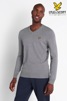 Lyle & Scott Mid Grey Marl Cotton Merino V-Neck Jumper