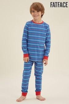 FatFace Blue Stripe Cuffed Pj Set