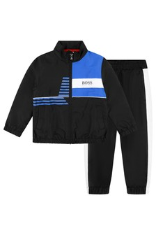Boys Black Logo Tracksuit