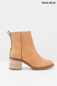 White Stuff Tan Chunky Ankle Boots
