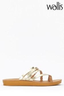 Wallis Gold Metallic Multi Scallop Flexi Heeled Sandals