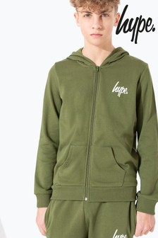 Hype. Khaki Mini Script Kids Zip Through Hoody