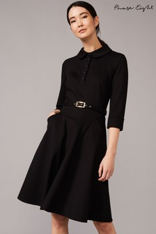 Phase Eight Black Enola Belted Ponte Shirt Dress