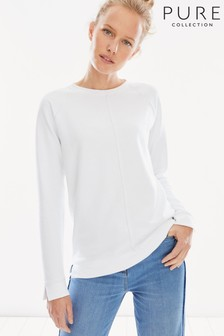 Pure Collection White Cotton Contrast Stitch Sweatshirt