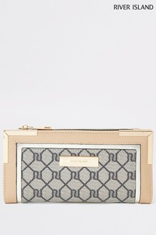 River Island Beige Monogram Metal Corner Purse