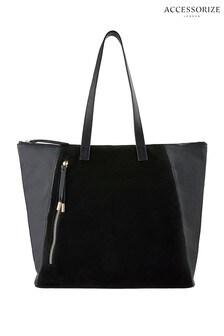 Accessorize Black Phoebe Leather Shopper