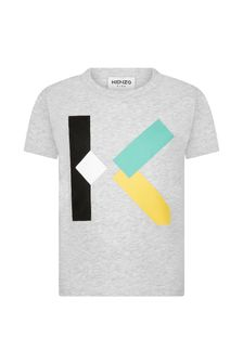 Kenzo Kids Boys Grey Cotton T-Shirt