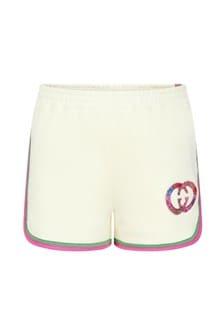 GUCCI Kids Girls White Cotton Shorts