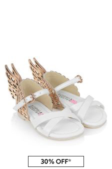 Sophia Webster Girls White And Gold Sandals