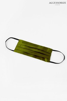 Accessorize Green Pleated Face Covering In Pure Silk