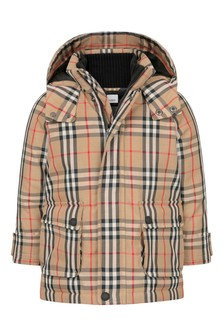 Kids Beige Check Padded Jacket