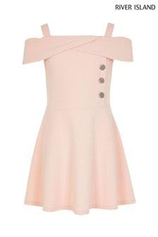 Różowa sukienka bardot River Island Megan
