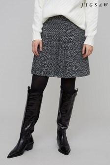 Jigsaw Blue Stamp Dot Pleated Skirt