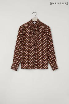 Warehouse Black Geo Print Pussy Bow Blouse
