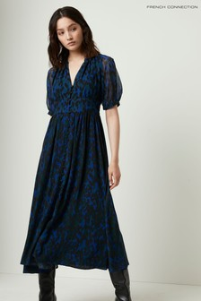 French Connection Blue Inari Mix Printed Midi Dress
