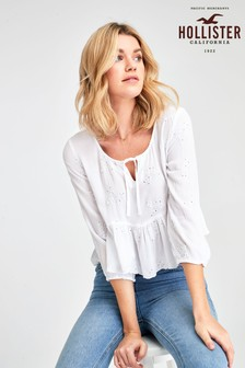 Hollister White Long Sleeve Blouse