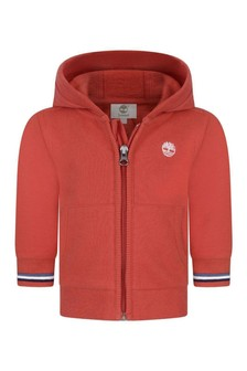 Baby Boys Red Hooded Zip-Up Top