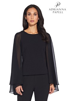 Adrianna Papell Black Crepe Chiffon Cape Top