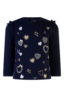 Baby Girls Navy Cotton Printed T-Shirt