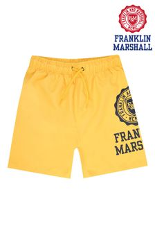 Franklin & Marshall Yellow Core Logo Swim Shorts