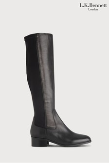 L.K.Bennett Black Bella Stretch Leather Knee Boots