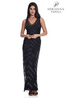 Adrianna Papell Black Beaded V-Neck Column Gown