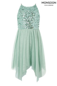 Monsoon Green Truth Sage Sequin Hanky Hem Dress