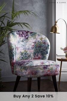 Fiore Slate/Amethyst Ascot Chair By Clarke Clarke