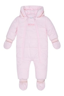 Baby Girls Pale Pink Hooded Snowsuit