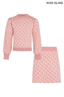 River Island Pink Medium Monogram Skirt Set