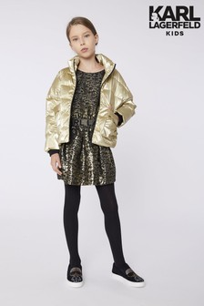 Karl Lagerfeld Gold Leopard Print Dress