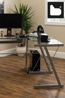 Walker Edison Silver 51 Modern Metal Glass Corner Computer Desk