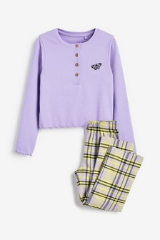 Rib Top With Check Bottom Pyjamas (3-16yrs)